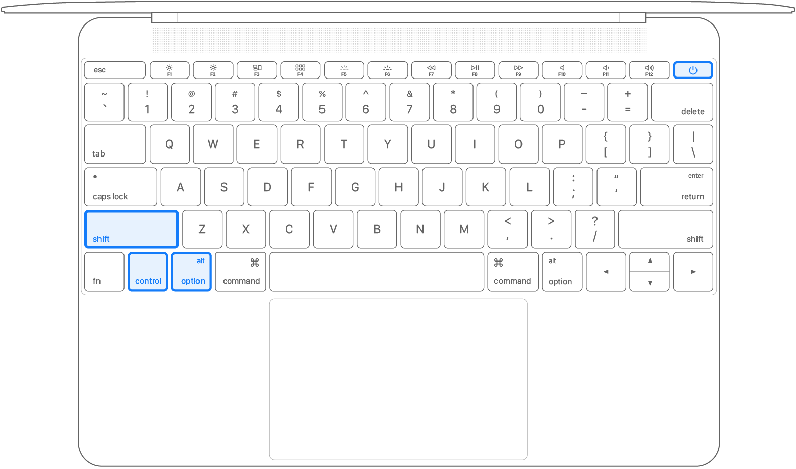 Notebook keyboard with all 4 keys pressed